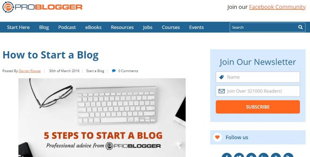 Problogger design formulaire